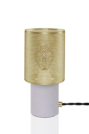 Globen Bordlampe Rumble Betong / Børstet Messing