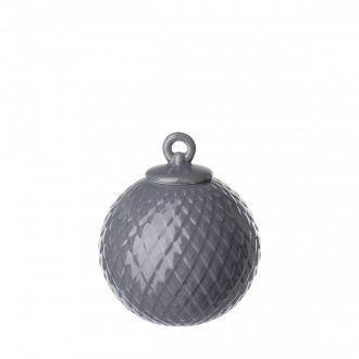 Lyngby Porcelain Rhombe Christmas Ball Dark Grey