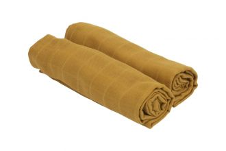 Cozy Muslin Klut 2-pack Bambus/Økologisk Bomull Sennep