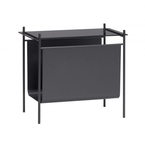 Hübsch Sidebord m / magasinholder Metal / Glass Svart