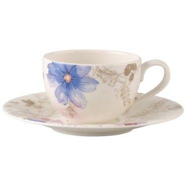 Villeroy & Boch Mariefleur Gris Basic Kaffekopp & tallerken 2stk