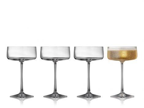 Lyngby Glass Crystal Zero Champagne Bowl 4stk