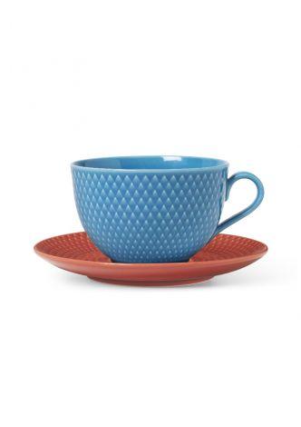 Lyngby Porselen Rhombe Color Tekopp med skål 39 cl blå/terracotta
