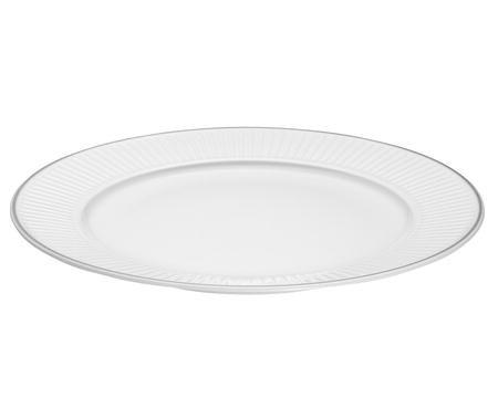 Pillivuyt Vienne Plissé tallerken flat hvit/platin - 28 cm