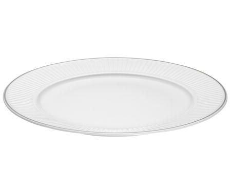 Pillivuyt Vienne Plissé tallerken flat hvit/platin - 31,5 cm