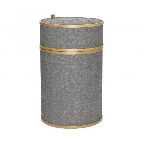 Hübsch Skittentøykurv rundt stoff / bambusgrått