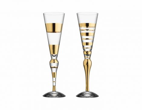 Orrefors Clown Champagne Gull 2 pk
