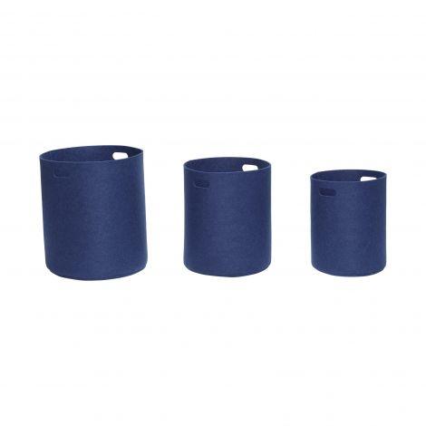 Hübsch filtkurv blå 3 stk