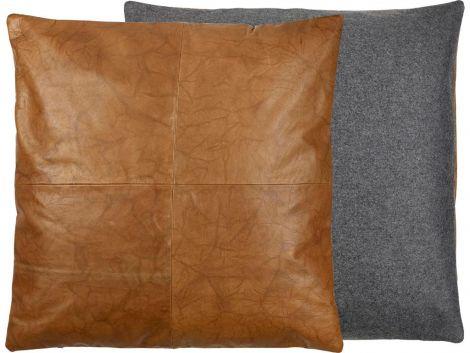 Södahl Lodge skinnpute 60 x 60 cm svart / tobakk