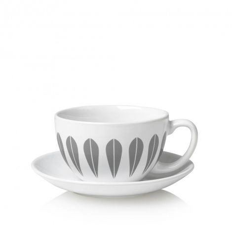 Lucie Kaas Lotus Gray Teacup & Bowl