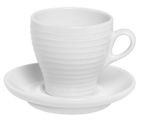 Design House Stockholm Blond Cappucino Cup & Saucer, Stripes 2stk