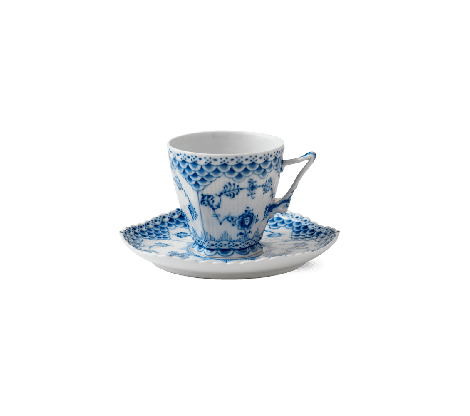 Royal Copenhagen Blue Fluted Full Lace Kopp m / skål 14 cl
