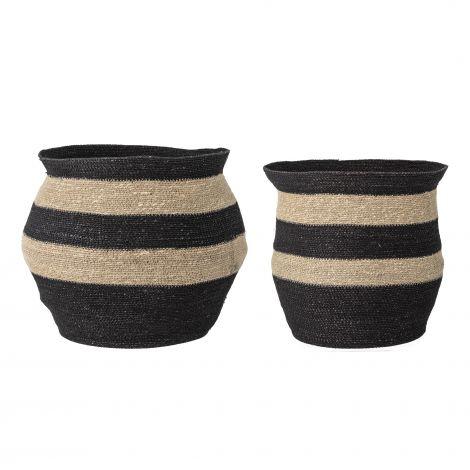 Bloomingville Basket Seagrass Black / Nature 2 stk