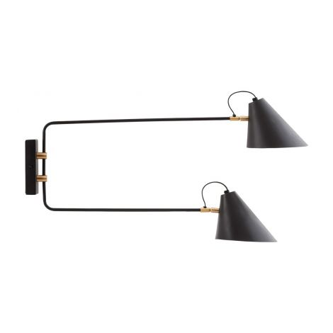 House Doctor Vegglampe Club Double Sort / Messing