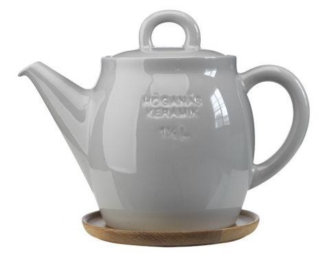 Høganæs Keramikk Steingrå Tekanne m/ Trefat 1,5 l