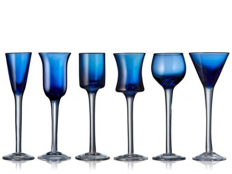 Lyngby Glass Snapseglass Blå 6stk