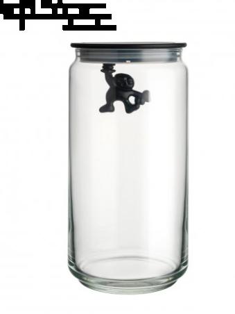 Alessi Gianni en liten mann som holder på tett Kitchen Jar Black 140 cl