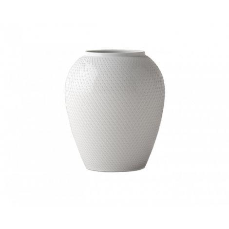 Lyngby Rhombe Vase Hvit 25 cm