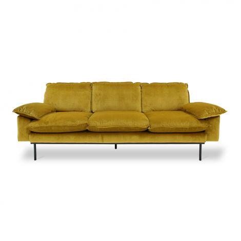 HKliving Retro Sofa 3-Seter Fløyel Oker