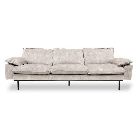 HKliving Retro Sofa 4-Seter Fløyel Kremhvit