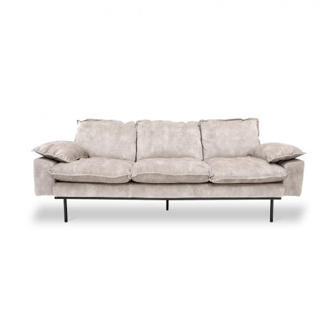 HKliving Retro Sofa 3-Seter Fløyel Kremhvit