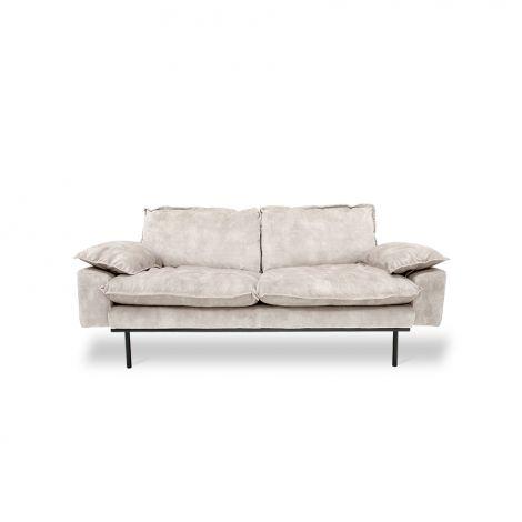 HKliving Retro Sofa 2-Seter Fløyel Kremhvit