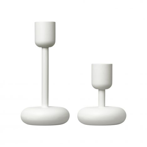 Iittala Nappula lysestake 2-pk 107+183mm hvit. Levering april -21.