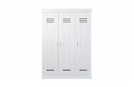 WOOOD Connect 3-dørs basic-skuff-skapskap hvit