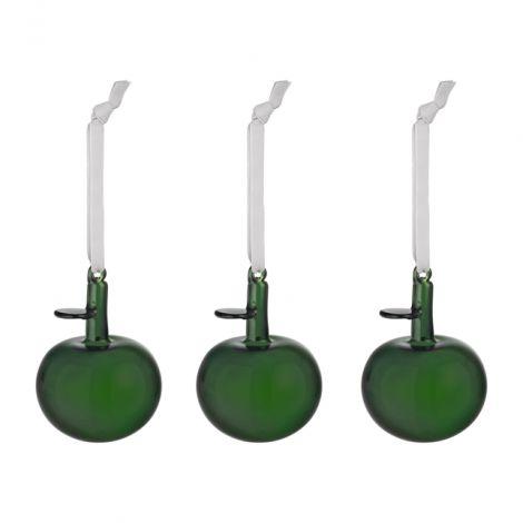 Iittala Oiva Toikka Glasskuler Eple 3 stk Grønn