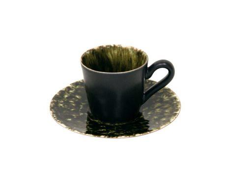 Costa Nova Riviera espressokopp og skål sort/mørk grønn - 8 cl