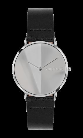 Orrefors O: TIME svart / sølvklokke