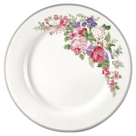 GreenGate Rose Middagstallerken Hvit