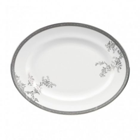 Wedgwood Vera Wang Lace Platinum Oval Dish 35cm
