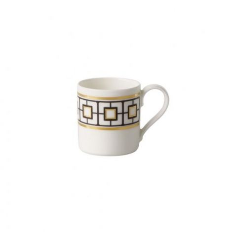 Villeroy & Boch MetroChic mokka / espressokopp, 80 ml, hvit / svart / gull