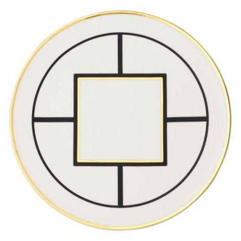 Villeroy & Boch MetroChic underplate / kakeplate, 33 cm i diameter, hvit / svart / gull