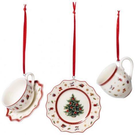 Villeroy & Boch Toy's Delight Julepynt 3 deler Hvit/ Rød