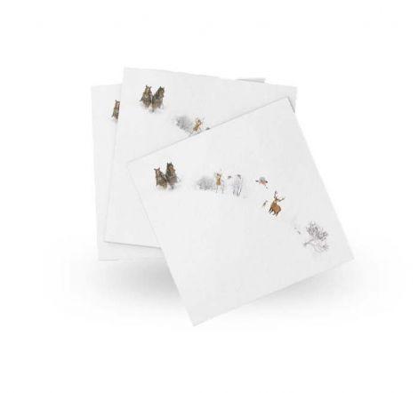 Wik & Walsøe Julemorgen serviett med illustrasjoner 40x40 cm