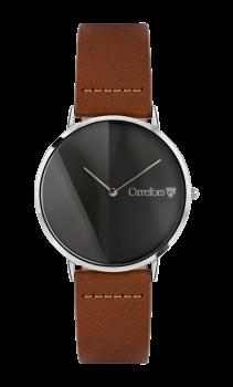 Orrefors O:TIME Konjakk/ Sort Metall Klokke