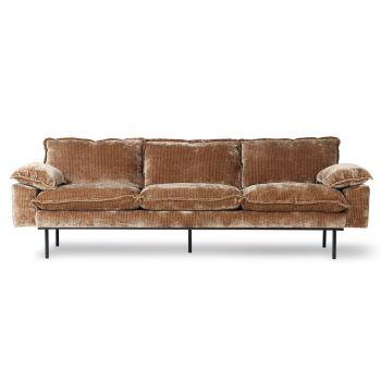 HKliving Retro Sofa 4-Seter Kordfløyel Gull/Brun