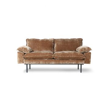 HKliving Retro Sofa 2-Seter Kordfløyel Gull/Brun