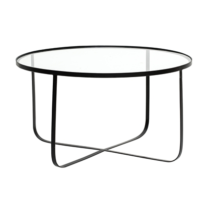 Bloomingville Sofabord Harper Sort Glass Ø 80 cm