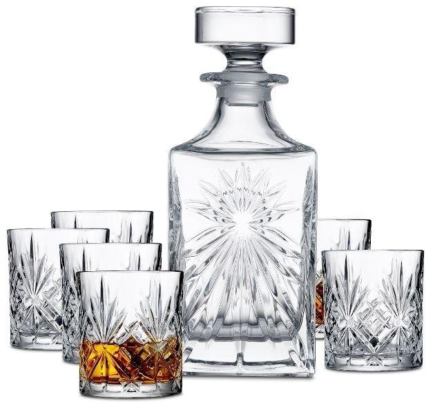Lyngby Glass Whiskysett Melodia 5 deler, 4 glass og 1 karaffel krystall