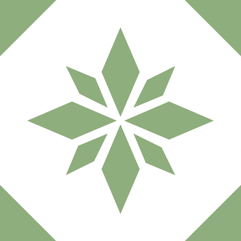 Tile Junkie Grønn Stjerne Gjennomsiktig