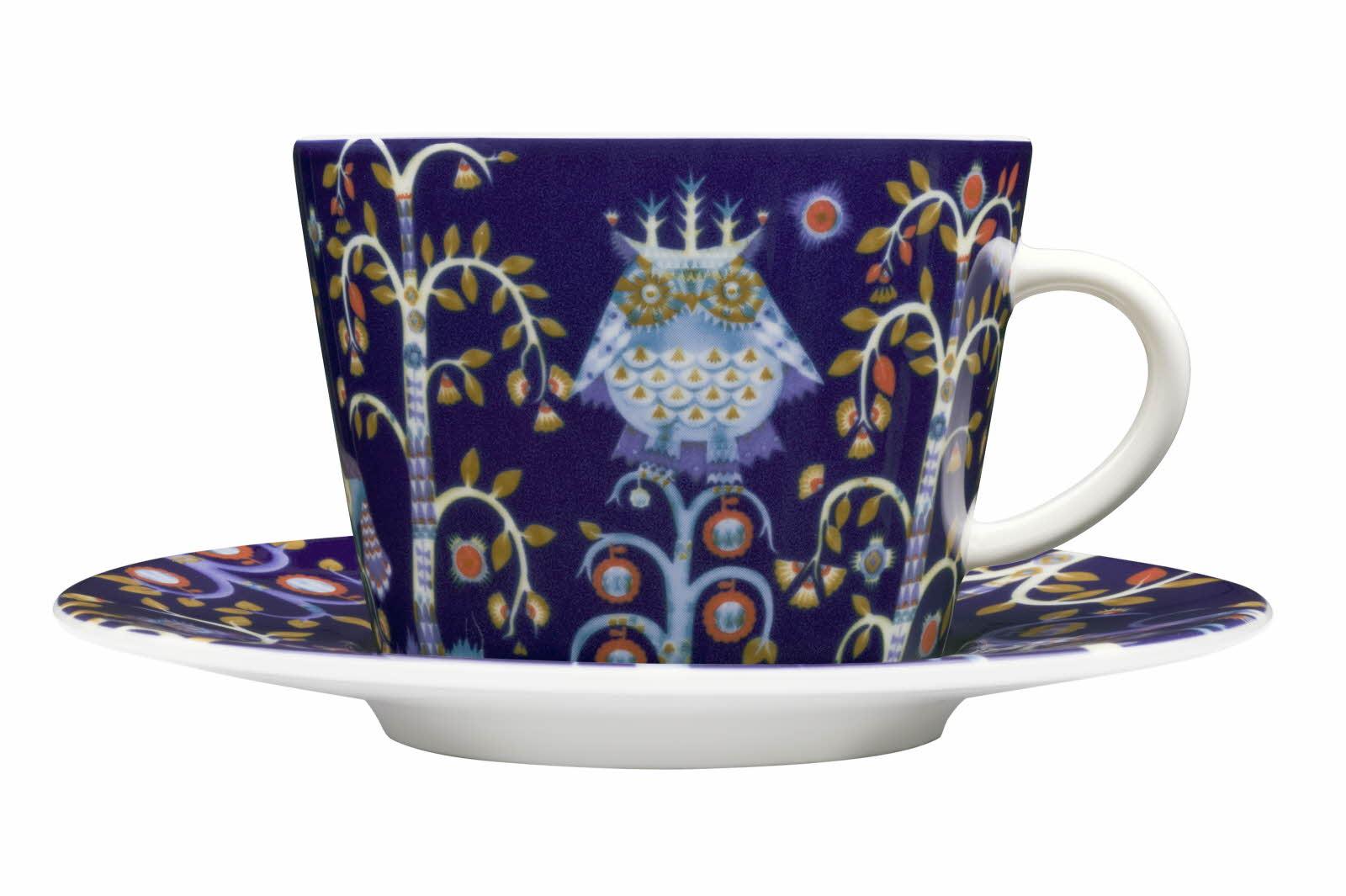 Iittala Taika kaffe/cappuccino kopp blå med skål